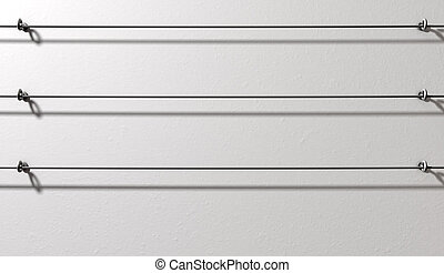 Steel Cable Display Wall - A 3d render of a white wall with...