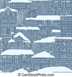 Winter town seamless pattern. Doodled houses and trees covered in snow.