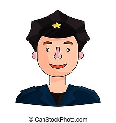 Policeman icon in cartoon style isolated on white background. People of different profession symbol stock vector illustration.