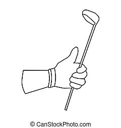 Holding of a golf club icon in outline style isolated on...