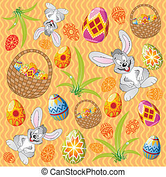Easter pattern with eggs, rabbit and basket - Easter pattern...