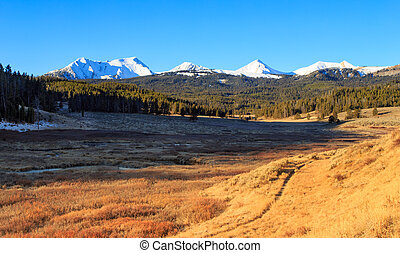 Snow-capped Mountains. - Landscape with snow-capped...