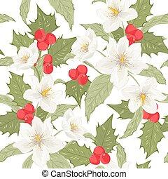 Holly berry mistletoe hellebore seamless pattern - Holly...