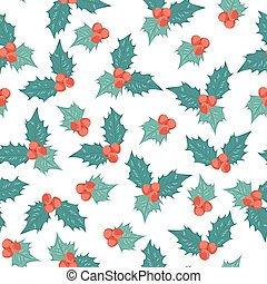 Mistletoe holly berry ilex seamless pattern blue - Mistletoe...