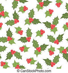 Holly berry ilex mistletoe seamless pattern green - Holly...