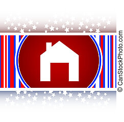 Home web icon, house sign on button