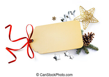 Christmas holiday composition; Christmas card, fir tree branches and Christmas ornament on white background. Flat lay, top view