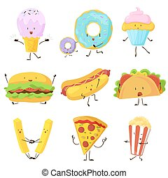 Funny fast food icons set. Vector illustration for...