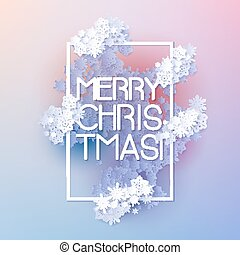 Snow frame with Merry Christmas text.. Winter frame made of...