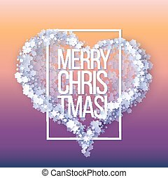 Snow frame with Merry Christmas text.. Winter frame Heart...