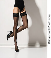 Sexy legs of a young woman in erotic hosiery - Fit and...