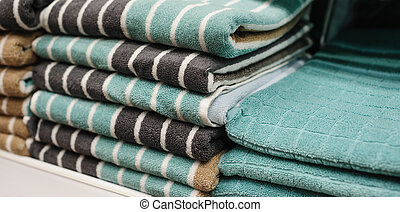 towels on the shelves in store