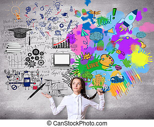 Creative and analytical thinking concept. Confused girl with...