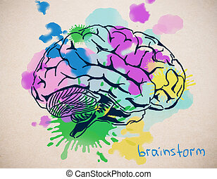 Brainstorm concept - Close up of creative colorful human...