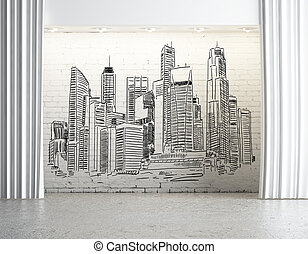 Urban art concept - City sketch in concrete interior with...