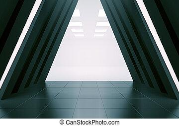 Abstract corridor interior - Abstract long corridor...
