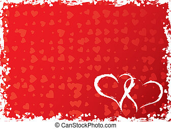 Valentines grunge frame with hearts, vector illustration