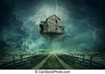Rapture - Ghost house ripped from the ground flying above a...