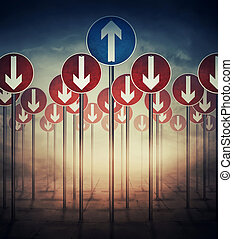 Dilemma - Conceptual image with a lot of road signs directed...