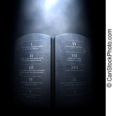 Ten Commandments - A 3D render of two stone tablets with the...