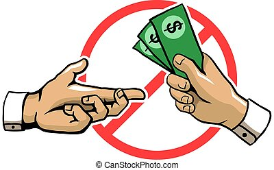 Anti Corruption Hand Sign - A vector illustration for...