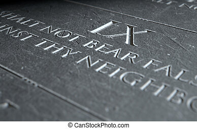 The Ninth Commandment - A 3D render of closeup of the ten...