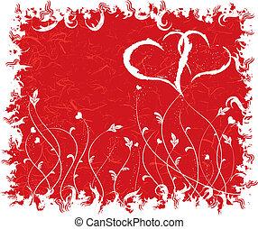 Grunge valentines background, vector