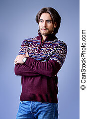 handsome in pullover - Handsome man wearing winter pullover....