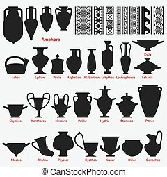 Set of antique Greek vases and border decoration seamless patterns