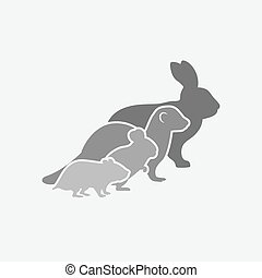 Pets silhouettes. rabbit, ferret, chinchilla, hamster. logo of pet store or veterinary clinic