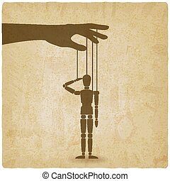 hand with puppet old background. vector illustration - eps...