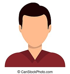 Male profile avatar with brown hair over white background,...
