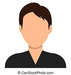 Male profile avatar with brown hair cartoon, vector...