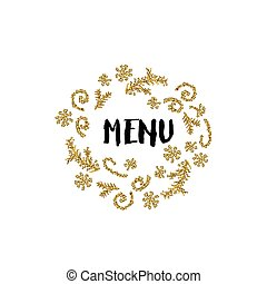 Christmas card on white background with golden elements and text