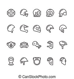 Set line icons of helmets and masks isolated on white....