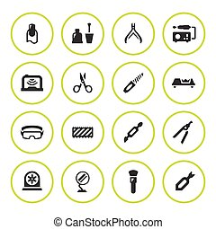 Set round icons of manicure isolated on white. Vector...