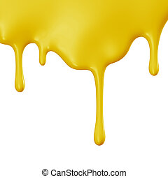 Yellow paint dripping isolated over white background. 3D