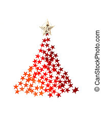 Christmas tree with stars on white background for greeting card