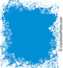 Snowflake grunge frame, elements for design, vector...