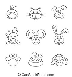 Pets related icon set in thin line style Mouse and fish,...