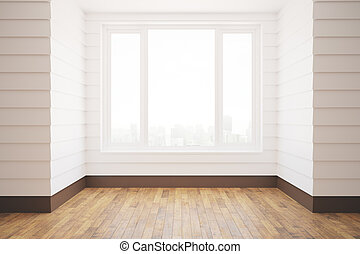 Unfurnished white room with wooden floor, city view and...