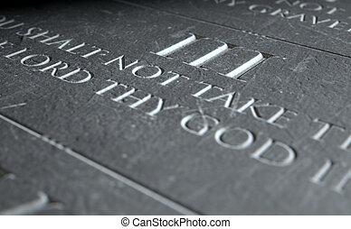 The Third Commandment - A 3D render of closeup of the ten...