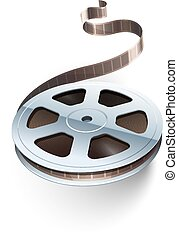 Film tape cinematography video movie disk isolated