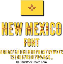 USA state font - New Mexico USA state flag font. Alphabet,...