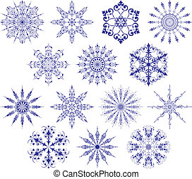 Collection of snowflakes, vector illustration. Some...