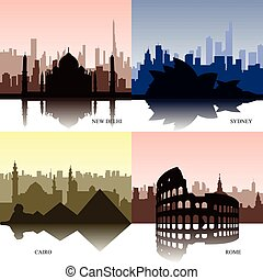 Set of cityscapes - Set of colored cityscapes of different...