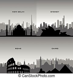 Set of cityscapes - Set of black cityscapes of different...