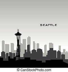 Seattle cityscape - Black cityscape of Seattle with text,...