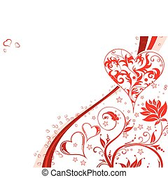 Valentines Day background with Hearts and floral pattern,...