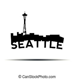 Seattle cityscape - Isolated cityscape of Seattle with text,...